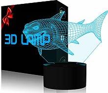 YKL World 3D Shark Nachtlicht LED Illusion Lampe 7