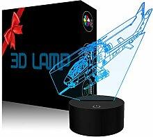 YKLWORLD Helikopter-Nachtlicht, 3D-Illusionslampe,