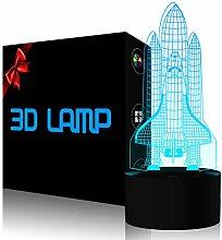 YKLWORLD Raketen-Nachtlicht, 3D-Illusionslampe,