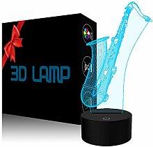 YKLWORLD Saxophon-Nachtlicht, 3D-Illusionslampe,