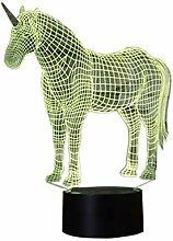 YKMY Einhorn 3D Illusion Lampe Nachtlicht mit 7