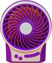 YL 3-Stufiger Ventilator Stummt Beweglicher Handgehaltener Usb-Nachladbarer Lithiumbatterieventilator , Purple,purple