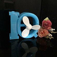 YL Usb Kleiner Ventilator, Nachladbarer Ventilator, Beweglicher Großer Windkraft Kleiner Batterie-Schreibtisch , Blue,blue