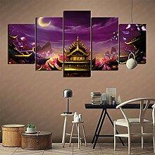 YLAXX 5 Panel Wandkunst Moon Palace Art Collection