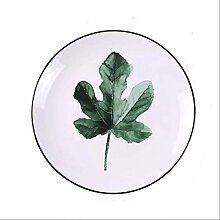 YLKKGJFD Teller 8-Zoll-grün-Pflanze Keramik