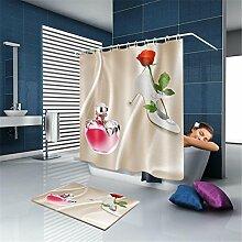 YLSFWSRY Duschvorhänge Vorhang 2017 Benutzerdefinierte Dusch High Heels Parfüm Rosen Natürlichen Stoff Moderne Dusch Bad Wasserdichte Vorhänge Badezimmer-Dekoration , 180*200Cm