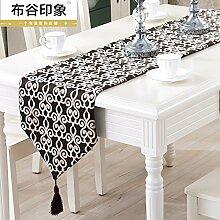 YM@YG Europäischen Stil Luxus Tisch Läufer Stoff Flagge Tuch Servietten Tischwäsche Dekoration einfach und modern Couchtisch Bett Schlafzimmer Betten Flagge Serviette Tischläufer,Kaffee Farbe,32 * 160cm