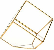 Ymiko Glas Pflanzer geometrische Gold Terrarium
