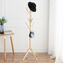 YMJ Wandgarderobe Einfache kreative baum massivholz kleiderständer boden mode wohnzimmer schlafzimmer kleiderständer rack hängenden kleidung Garderobe (Farbe : Natürlich)