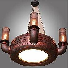 YMXJB Kreative Reifen Pendelleuchte ländliche Industrie Kronleuchter Schlafzimmer Nacht Wohnzimmer Cafe Bar Retro Einfache hängende Lampe, 220V-240V