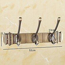 YMXLJFKleiderhaken Hook All-Kupfer Antik Kleidung Hängende Kleidung Türhaken Retro Bad Anhänger Kleiderbügel (Farbe : Brass1, Größe : A)