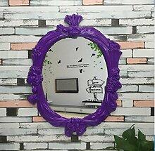 YMXLQQ Europäischen Antiken Ovalen Spiegel Badezimmer Wand-Spiegel PU Schlafzimmer Bad Kosmetikspiegel Kosmetikspiegel Kunst Dekorative Spiegel Wohnkultur,C
