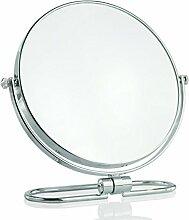 YMXLQQ HD Runde Tragbare Doppelspiegel Schönheit Dressing Spiegel Reise Klappspiegel 8-zoll Chrom Desktop Schminktisch Stativ Dekoration,10times