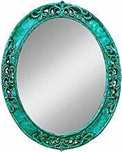 YMXLQQ Mittelmeer Farbe Wandbehang Spiegel Grüne Grenze Dekorative Spiegel Lila Oval Geheimnisvolle Spiegel Badezimmer PU Spiegel Wohnaccessoires Spiegel,Cyan-L
