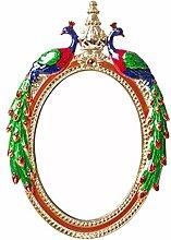 YMXLQQ Pfau Retro Kosmetikspiegel Desktop Prinzessin Whitening Spiegel Legierung Tragbare Schönheit Dressing Platziert Einseitige Spiegel HD Klappspiegel Stativ Hause,A