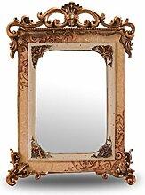 YMXLQQ Retro Nostalgie Schönheitsspiegel Make-up Desktop Spiegel Einseitige Quadratischen Harz HD Tragbare Klappspiegel Stativ Dekoration,7-inch