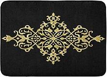 YnimioHOB Badematte schwarz golden elegant Gold