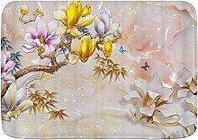 YnimioHOB Badematte Teppich, Pflanze Blume Gelb nk