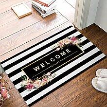 YnimioHOB Schwarz-Weiß-Streifen Floral Welcome