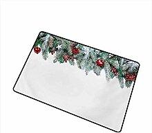 YnimioHOB Weihnachten Fußmatte Snowy Xmas Branch