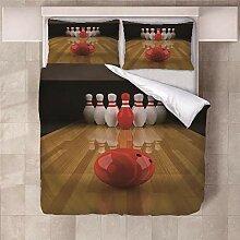YNKNIT Bettbezug 200x200 cm Bowling Bettbezug 3D