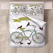 YNKNIT Bettbezug 200x200 cm Fahrrad Bettbezug 3D