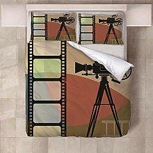 YNKNIT Bettbezug 200x200 cm Filmprojektor