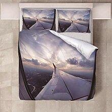 YNKNIT Bettbezug 200x200 cm Flugzeugflügel