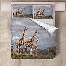 YNKNIT Bettbezug 200x200 cm Giraffe Bettbezug 3D