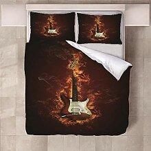 YNKNIT Bettbezug 200x200 cm Gitarre Bettbezug 3D