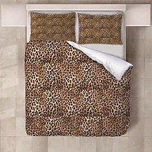YNKNIT Bettbezug 200x200 cm Leopard Bettbezug 3D