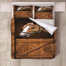 YNKNIT Bettbezug 200x200 cm Pferd Bettbezug 3D