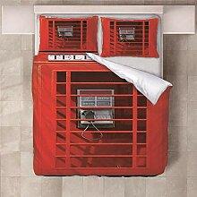 YNKNIT Bettbezug 200x200 cm Telefonzelle Bettbezug
