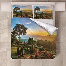 YNKNIT Bettbezug 200x200 cm Wald Bettbezug 3D