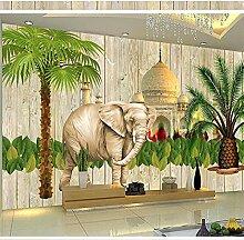YNYEZBH 3D Fototapete Elefant Architektur Pflanze