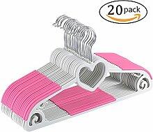 Yoassi Herzförmiges Design Kleiderbügel, 20 Stück, Antirutsch, Pink, Platzsparend, für Kleidung/Anzug/Jacke/Krawatte, aus hochwertigem Kunststoff, um 360° drehbarer Haken