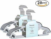 Yoassi® S-Form Kleiderbügel Rutschfest Gummierung Kunststoff Anzugbügel (20 Stück, Grau)