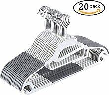 Yoassi S-Form Kleiderbügel Rutschfest Kunststoff Gummiert -20 Stück/0,6cm/Grau Anzugbügell/Jackenbügel/Hosenbügel