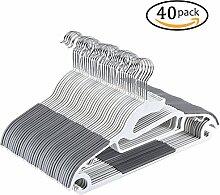 Yoassi S-Form Kleiderbügel Rutschfest Kunststoff Gummiert -40 Stück/0,6cm/Grau Anzugbügell/Jackenbügel/Hosenbügel