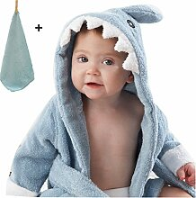 yocome Baby Shark Bademantel mit Kapuze Badetuch