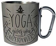 Yoga gibt dir Superkräfte Edelstahl Karabiner