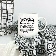 Yoga Kombucha Mascara Gangster Rap Mug Funny Yoga