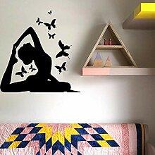 Yoga Pose Wandkunst Aufkleber Schmetterling
