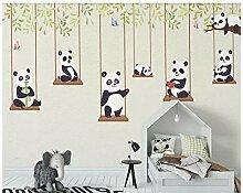 Yoga-Raum 3D Cartoon Panda Kinder Tapete