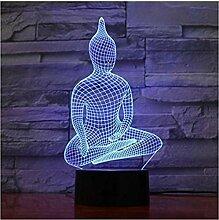 Yoga Sit Buddha Lichter 3D Led Lampe 7 Bunte Acryl
