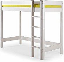 YOGI Hochbett Kinderbett mit Leiter 90x200 Kiefer weiß, gerade Leiter
