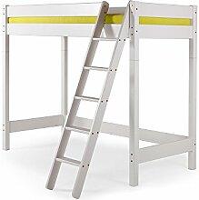 YOGI Hochbett Kinderbett mit Leiter 90x200 Kiefer weiß, schräge Leiter