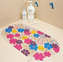 YOKIRIN® PVC Antirutsch Massagematte Badematte für Wanne und Duschkabine 70X38 cm- Muster:Blume