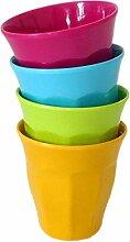 YOKO DESIGN 1034 Becher-Set, 9 cm, Grün, Gelb, Blau, Fuchsia, 4 Stück