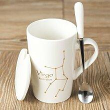 Yomiokla 12 Sternbild Becher Keramik Becher Paare Tasse Cappuccino Tasse mit dem Löffel Abdeckung, weiße Jungfrau base